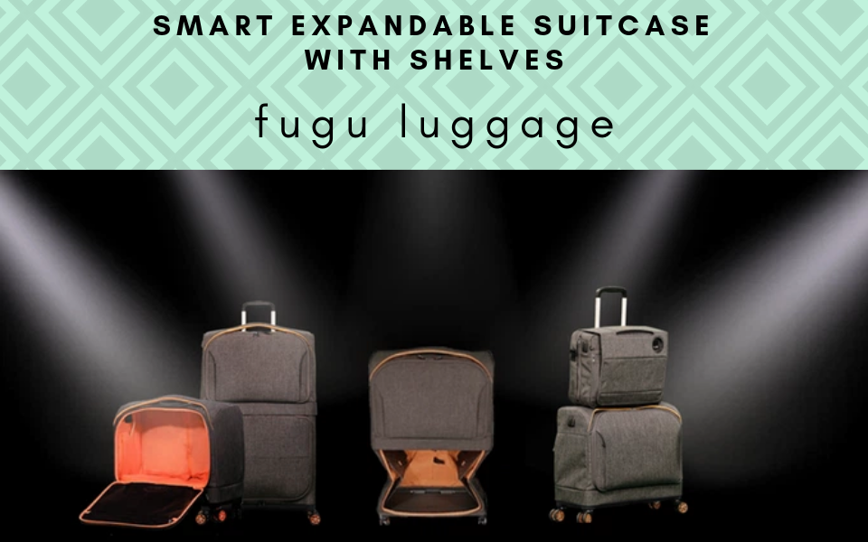 expandable suitcase with shelves fugu luggage