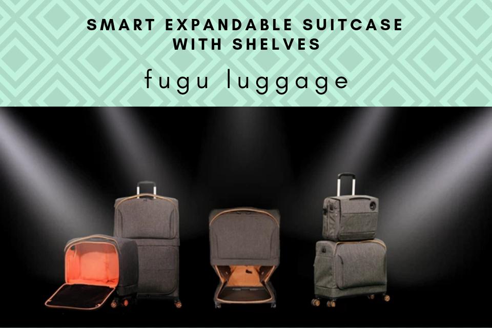 expandable suitcase with shelves fugu luggage